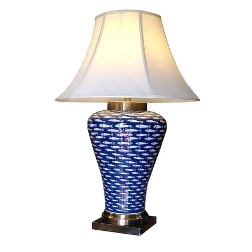 NOW £30 OFF - Blue White Fish Chinese Ceramic Porcelain Table Lamp (M11415)